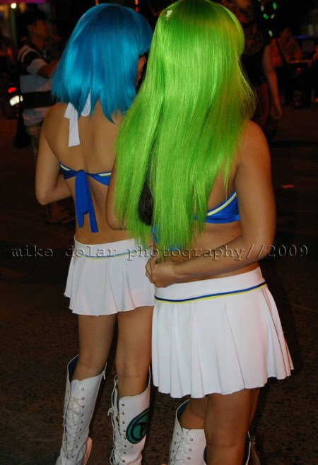ladies of the night in colorful wigs